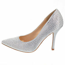 Sage Silver Satin Pump Rhinestone Crystal Studded Close Toe Women Promise Shoes