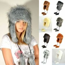 New Ladies Faux Fox Fur USHANKA Russian Cossack Style Hat --- 9 COLORS ---