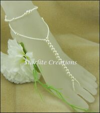"""Barefoot Sandals with Anklets Ivory Pearl """"WRAPS"""" Bridal Foot Jewellery 1 pair"""