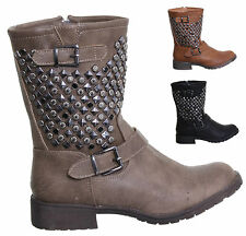 WOMENS LADIES STUDDED MILITARY BIKER BUCKLE WINTER ANKLE BOOTS RIDING SHOES