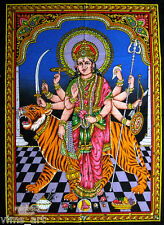 hindu durga parvati uma sequin wall hanging tapestry ethnic batik painting India