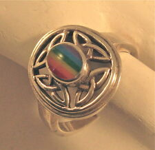 Sterling Silver Ring with Dramatic Celtic Knots and LGBT Rainbow