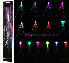 "50 pc LOT 14"" LED FIBER OPTIC CLIP ON COLORED HAIR LIGHT LIGHTS UP EXTENSIONS"