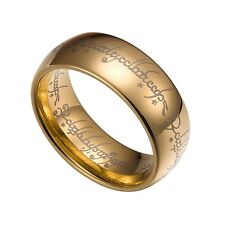 Gold Tungsten Carbide 8mm Lord Of The Rings Band Size 7-14 TG020
