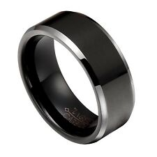 Black Tungsten Carbide 8mm Smooth wedding Band Ring Size 7-14 Half Size TG029