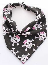 Pink Glitter Skulls Puppy Dog Bandana/Collar 100% Cotton Handmade in UK