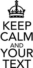 Small Size Keep Calm 'Your Text' Custom Kitchen/Room Cupboard Wall Art Sticker