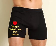 MENS PERSONALISED BLACK BOXER SHORTS PANTS MESSAGE HAPPY VALENTINES DAY