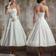 New In Stock Size UK6 8 10 12 14 16 Lace Tea Length Vintage Wedding Dresses
