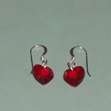 Swarovski Element Crystal  Heart Drop & Sterling Silver Earrings BNIB Hooks