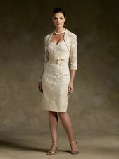 Stock Noble Champagne Short Lace Wedding Mother of the Bride Dress Free Jacket