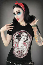 NEW! Disney Snow White Punk Rock T-shirt Cool Undead Zombie Goth Tee Shirt Top