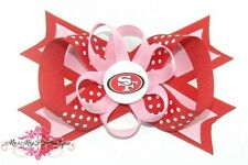 San Francisco 49ers FUSION PINK Hair Bow on Headband, Clip or Barrette NFL