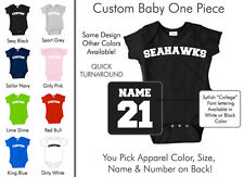 Seahawks Baby One Piece - Custom Name and Number, Creeper, Onesie