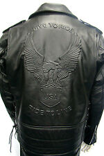 LIVE TO RIDE EMBOSSED EAGLE MENS BLACK  RETRO MOTORCYCLE  HIDE LEATHER JACKET