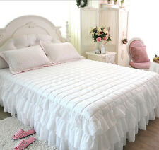 Romantic White Bedskirt pleated design bedding Single, Queen, King Size / New