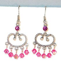 SWAROVSKI Elements CRYSTAL EARRINGS Silver Chandelier Earrings ROSE PINK