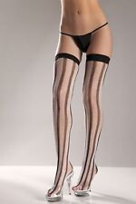 VERTICAL STRIPED SPANDEX THIGH HIGH STOCKIING