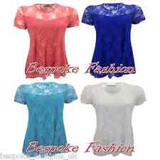 NEW WOMEN'S FLORAL LACE LINED LADIES SHORT SLEEVE STRETCH TOP T-SHIRT PLUS SIZES