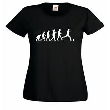 Evolution of Football Ladies Fitted Black T-Shirt soccer Beautiful Game goal