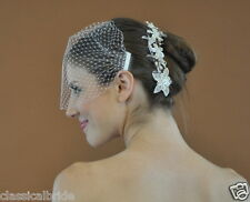Bandeau 72 Veil Set w/ SILVER  RHINESTONE COMB & Ivory or White Birdcage Blusher