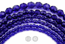 "Czech Fire Polished Round Faceted Glass Beads Cobalt Blue, 16"" strand, navy blue"