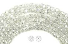"Czech Glass Fire Polished Round Faceted Beads Crystal Hematite White, 16"" strand"