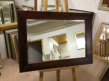 """4"""" CHUNKY DARK MAHOGANY STAINED SOLID PINE WALL AND OVERMANTLE MIRRORS - VARI"""