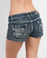 NEW SEXY DISTRESSED~FLEUR DE LIS~RHINESTONE Studded LOW-RISE MINI SHORTS~NWT~