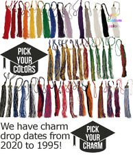 "Graduation Tassel w/ 2012, 2013, 2014 Drop Date Charm for Cap & Gown 9"" Colors"