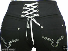 ♥NEW Ladies Stretchy Black Fashion Lace Up Skinny Jeans Jeggings Leggings 8-16