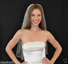 SATIN RIBBON EDGE 1 Tier 30 Inch Elbow Veil in White or Ivory Tulle wedding veil