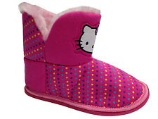 New Girls Hello Kitty Novelty Pink Slippers Fur Lined Fashion Stylish Casual