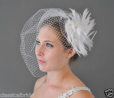 Full 804 VEIL SET w/ Feather Fascinator Hair Clip & Ivory or White Birdcage Veil