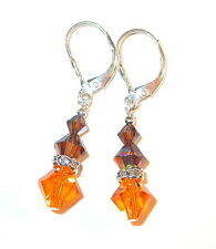 SUN & SMOKED TOPAZ BROWN Crystal Earrings Sterling Silver Swarovski Elements
