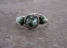 Sterling Silver Triple Seraphinite Bead Ring