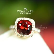 18K Rose Gold Plated Elegant Ruby Square Cut Ring Made With SWAROVSKI Crystals