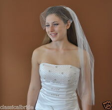 SET - 1 Tier 30 Inch Elbow Veil & French Birdcage Blusher Veil in Ivory or White