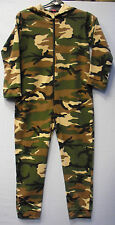 Childrens Childs Kids Boys Green Onesie Camouflage Camo Combat Print Hood Zip