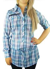 LADIES LONG LENGTH CHECK SHIRTS TOPS WOMENS SIZES 10 - 16