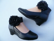 NEW BLACK GIRLS WEDGE SHOES LITTLE ANGEL SIZE 9-4