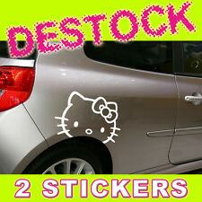 2 STICKERS HELLO KITTY - DECORATION AUTO VOITURE - 2 TAILLES / 24 COULEURS