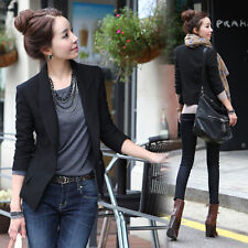 Elegant Womens Tunic Blazer One Button OL Jacket Casual Suit Coat Slim Top Black