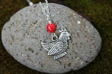 I love chickens necklace - fat silver hen under red glass heart, sterling silver