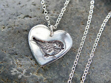 My little chickadee necklace- handmade fine silver heart with bird - 4 daughter