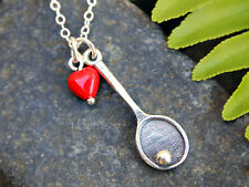 I Love Tennis Necklace - sterling silver tennis racquet/racket charm & red heart