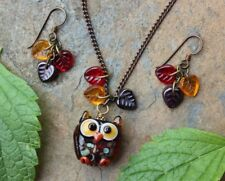 Autumn Owl Necklace and Earring Set- honey brown lampwork glass owl, fall leaves