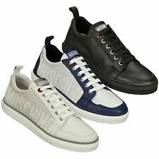 Moschino Logo Men's Low Top Leather Trainers in White, Blue & White, or Black