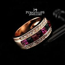 18CT Rose Gold Plated Fashion Rainbow Ring Use Genuine Swarovski Crystals