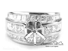 14K WHITE GOLD CHANNEL SET DIAMOND ENGAGEMENT RING SOLITAIRE SETTING